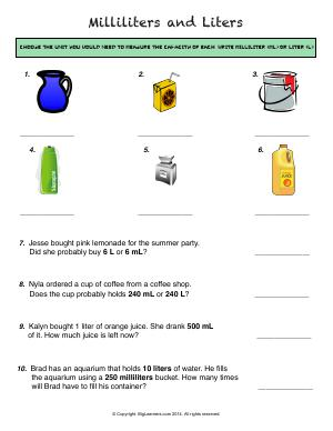 Preview image for worksheet with title Milliliters and Liters