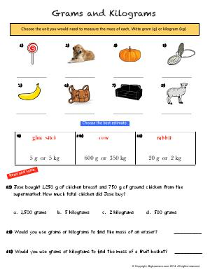 Preview image for worksheet with title Grams and Kilograms
