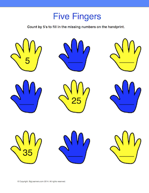 Preview image for worksheet with title Five Fingers
