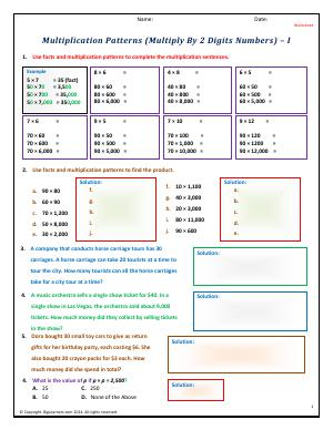 Preview image for worksheet with title Patterns (Multiply By 2 Digits Numbers) - I