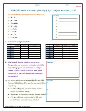 Preview image for worksheet with title Patterns (Multiply By 2 Digits Numbers) - II