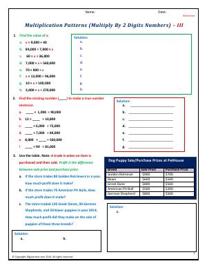 Preview image for worksheet with title Patterns (Multiply By 2 Digits Numbers) - III