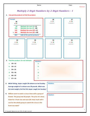 Preview image for worksheet with title Multiply 2-Digit Numbers by 2-Digit Numbers - I