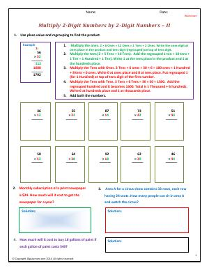 Preview image for worksheet with title Multiply 2-Digit Numbers by 2-Digit Numbers - II