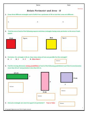 Preview image for worksheet with title Relate Perimeter and Area - II