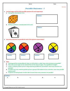 possible outcomes fourth grade math worksheets biglearners. Black Bedroom Furniture Sets. Home Design Ideas