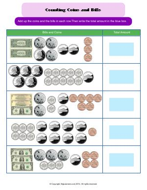 Preview image for worksheet with title Counting Bills and Coins