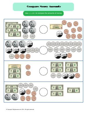 Preview image for worksheet with title Compare Money Amounts