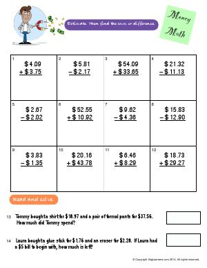 Preview image for worksheet with title Money Math