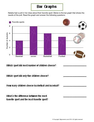 Preview image for worksheet with title Bar Graphs (Favorite Sport)