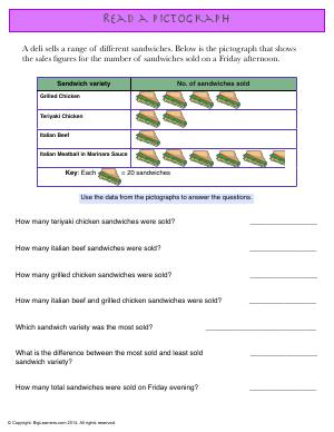 Preview image for worksheet with title Read a Pictograph