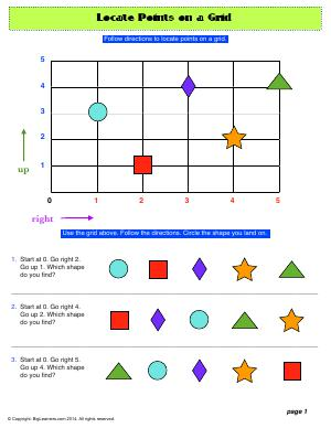 Preview image for worksheet with title Locate Points on a Grid (2 pages)