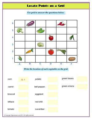 Preview image for worksheet with title Locate Points on a Grid