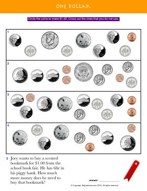 Preview image for worksheet with title One Dollar