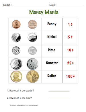Preview image for worksheet with title Money Mania