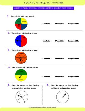 Preview image for worksheet with title Certain, possible, or Impossible