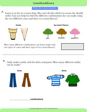 Preview image for worksheet with title Combinations