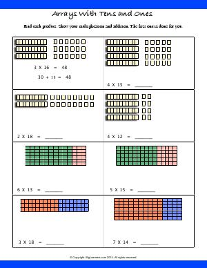 model multiplication with arrays third grade math worksheets biglearners. Black Bedroom Furniture Sets. Home Design Ideas