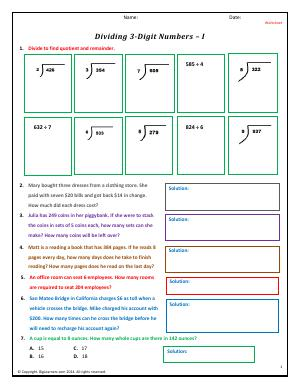 Preview image for worksheet with title Dividing 3-Digit Numbers - I