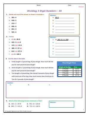 Preview image for worksheet with title Dividing 3-Digit Numbers - III