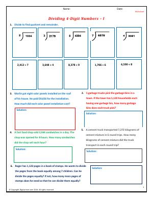 Preview image for worksheet with title Dividing 4-Digit Numbers - I