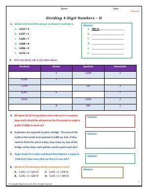 Preview image for worksheet with title Dividing 4-Digit Numbers - II