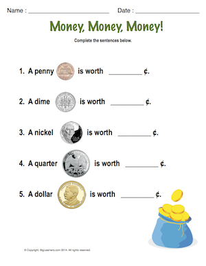 Preview image for worksheet with title Money, Money, Money!