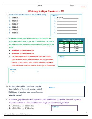 Preview image for worksheet with title Dividing 4-Digit Numbers - III