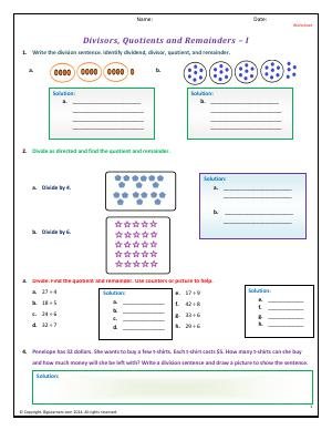Preview image for worksheet with title Divisors, Quotients and Remainders - I