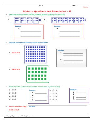 Preview image for worksheet with title Divisors, Quotients and Remainders - II