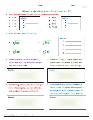 Preview image for worksheet with title Divisors, Quotients and Remainders - III
