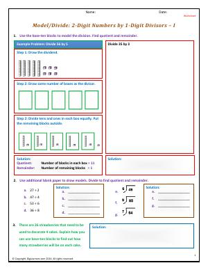 Preview image for worksheet with title Model/Divide: 2-Digit Numbers by 1-Digit Divisors - I