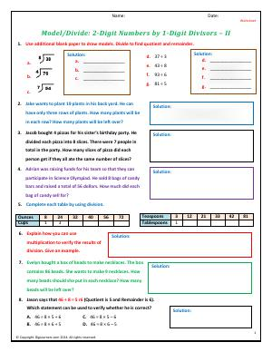 Preview image for worksheet with title Model/Divide: 2-Digit Numbers by 1-Digit Divisors - II