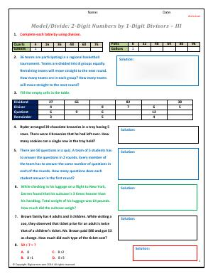 Preview image for worksheet with title Model/Divide: 2-Digit Numbers by 1-Digit Divisors - III