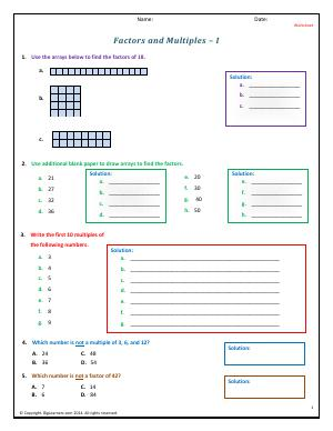 factors and patterns fourth grade math worksheets biglearners. Black Bedroom Furniture Sets. Home Design Ideas
