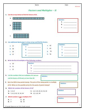 Preview image for worksheet with title Factors and Multiples - II
