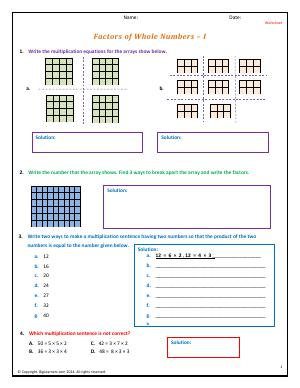 Preview image for worksheet with title Factors of Whole Numbers - I