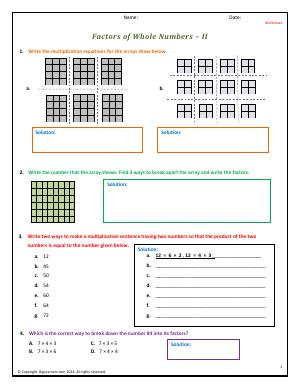 Preview image for worksheet with title Factors of Whole Numbers - II