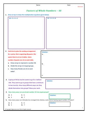 Preview image for worksheet with title Factors of Whole Numbers - III