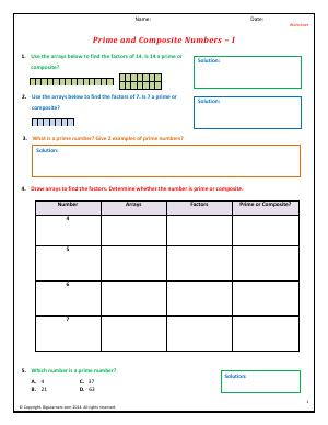 Preview image for worksheet with title Prime and Composite Numbers - I