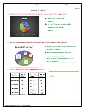 Preview image for worksheet with title Circle Graphs - I