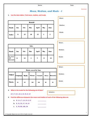 Preview image for worksheet with title Mean, Median, and Mode - I