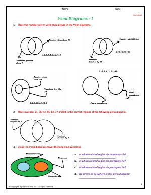 Preview image for worksheet with title Venn Diagrams - I