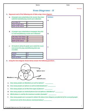 Preview image for worksheet with title Venn Diagrams - II