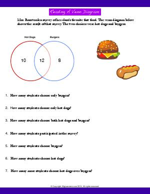 Preview image for worksheet with title Reading a Venn Diagram