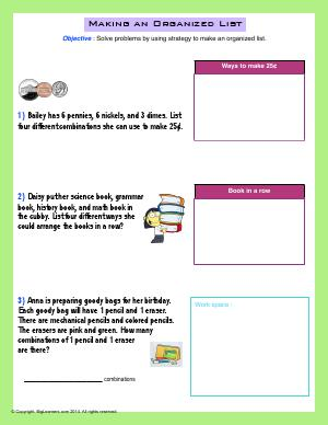 Preview image for worksheet with title Making an Organized List