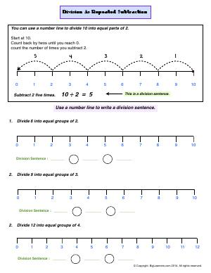 Preview image for worksheet with title Division as Repeated Subtraction
