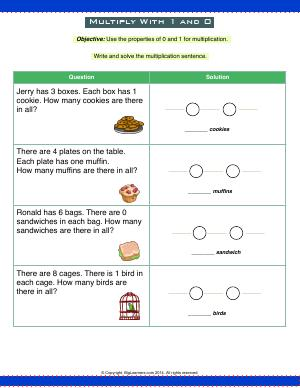 Preview image for worksheet with title Multiply With 1 and 0