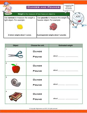 Preview image for worksheet with title Ounces and Pounds