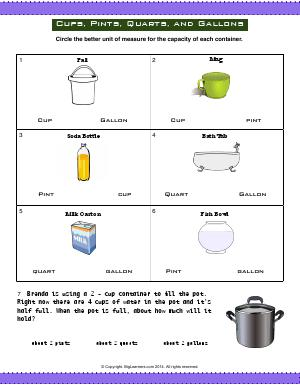 Preview image for worksheet with title Cups, Pints, Quarts, and Gallons